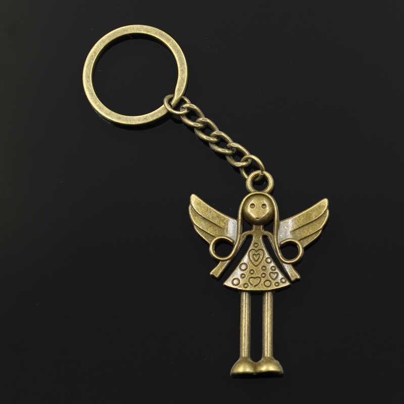 Мода 30 мм брелок металлическая подарочная упаковка Серебрянные украшения в античном стиле с бронзовым покрытием Ангел 58x38 мм Кулон