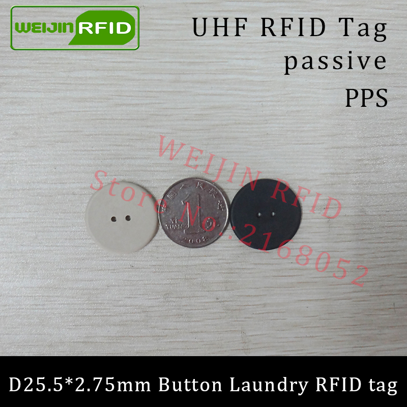 UHF RFID tag laundry PPS button Washable heat resisting 915m 868m 860-960M Alien Higgs3 EPC Gen2 6C smart card passive RFID tags 26mm iso15693 rfid pps laundry tags with 13 56mhz i code sli chip 1000pcs lot