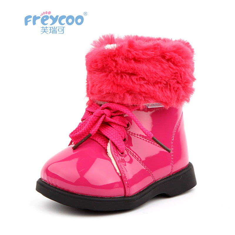 Freycoo 2018 New Winter Baby Kids Shoes For Girls Cowskin Snow boots Cotton-padded Boots For 1-5 Years old