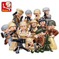 Sluban M38-B0582 WWII War 12pcs/lot Figures Team DIY Building Blocks Bricks Figures Educational Children Toy Gift