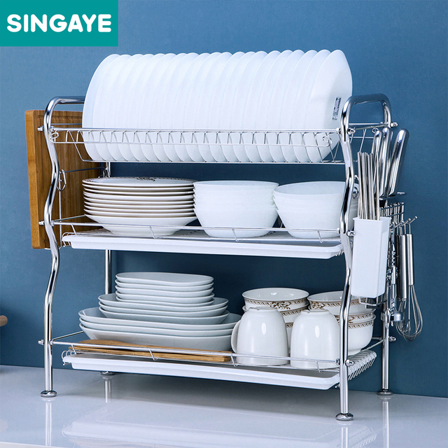 SINGAYE Dish Rack Set Three Layers 304 Stainless Steel Plate Dish Cutlery  Cup Rack With Tray