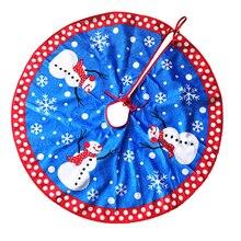 2016 New 80cm Christmas Tree Skirt Blue Snowman snowflake Oranments Christmas Supplies flannel Polyester 001