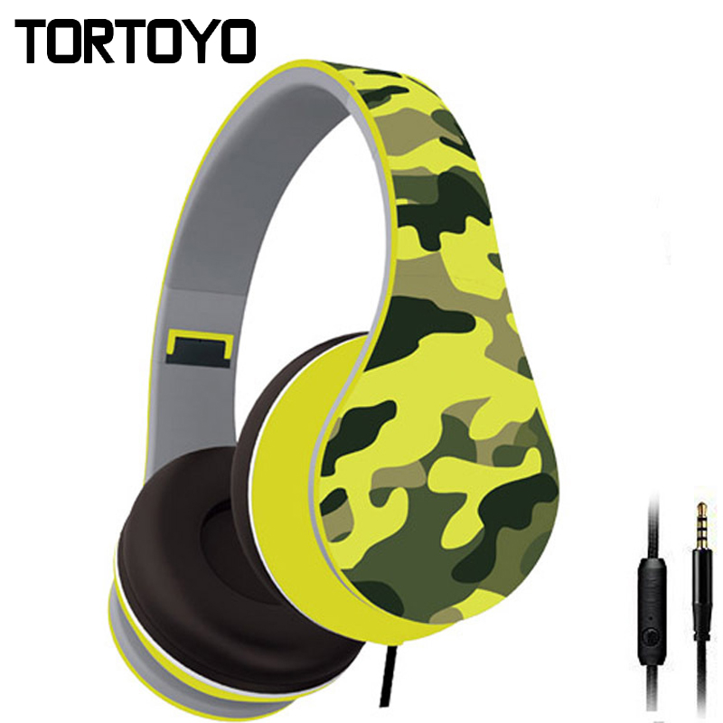 Stylish Camouflage Universal Foldable Wired PC Phone Headphones Earphone Stereo Computer Headset with Microphone For Smart Phone folding stereo bass headset 3 5mm wired music earphone headphones with microphone gaming headset for phone mp3 pc computer