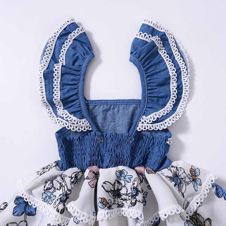 HE Hello Enjoy/Детское платье с цветочным рисунком; торжественное синее платье принцессы без рукавов с принтом; нарядное платье для свадебной вечеринки; Одежда для девочек; милый день рождения
