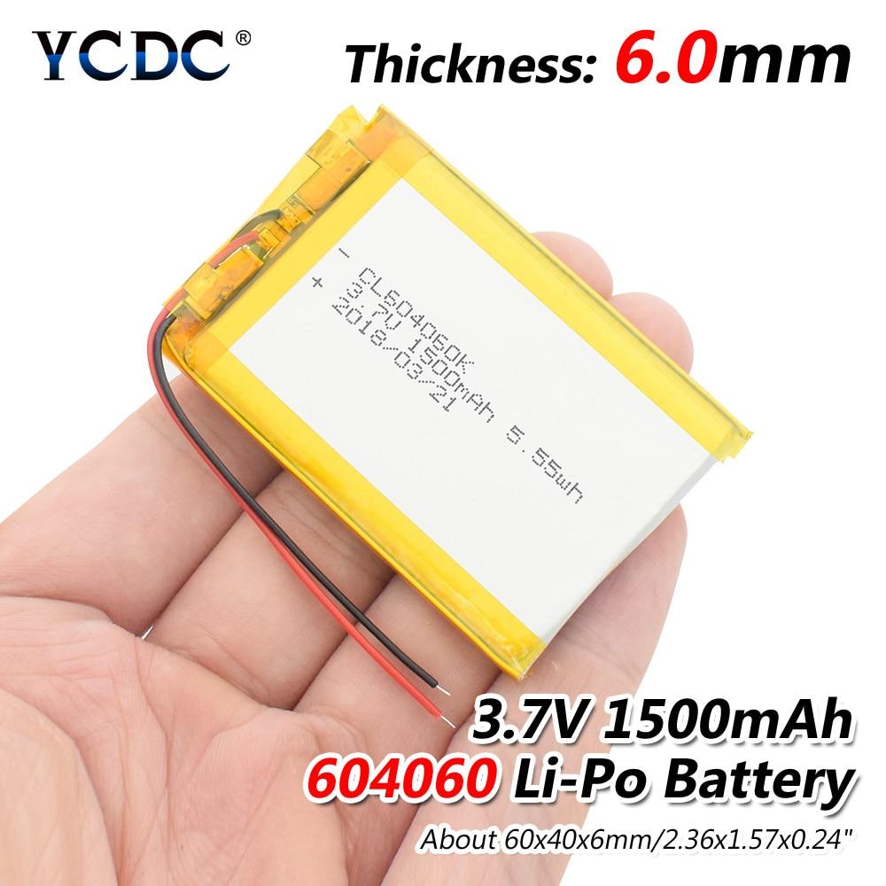 124pcs 3.7V 1500mAh Li-Po Rechargeable Battery 604060 Li-polymer Battery 604060 Cell For MP5 DVD GPS Camera iPod Tablet PC