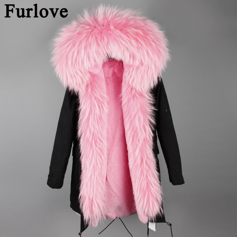Furlove 2017 new women winter jacket woman long parka real fur coat big natural raccoon fur collar hooded parkas warm outerwear real fox fur liner winter jacket women new long parka real fur coat big raccoon fur collar hooded parkas thick outerwear