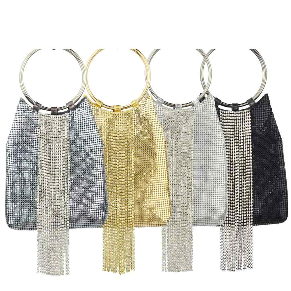 Newest Sequined Designer Clutch Bags Gold Silver Black circular ring Crystal tassels Wrisrlets Bags Female Chain handbags