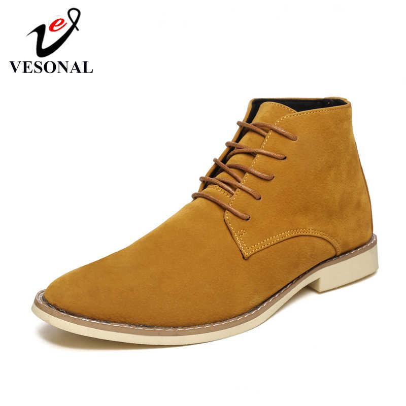 VESONAL 2019 sonbahar kış deri yüksek Top Sneakers erkek ayakkabısı ile kürk peluş sıcak rahat klasik rahat erkek ayakkabı