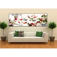 3pc/set Frameless picture on wall Animal design Fish picture diy paint by numbers for lobby decoration 50X50cm oil painting