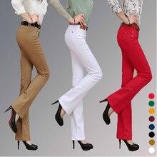 Большой размер осень мода конфеты цвет широкую ногу джинсы стрейч женщины брюки одежда слегка расклешенные брюки тонкие брюки Z10