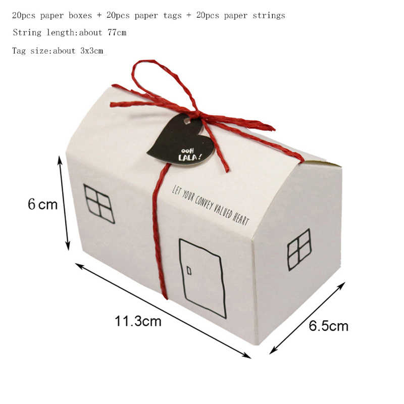 20 sets Weiß Kraft Haus Papier Geschenk Boxen Party Box Candy Box Mit String Tag Geburtstag Hochzeit Gefälligkeiten Party Dekoration liefert