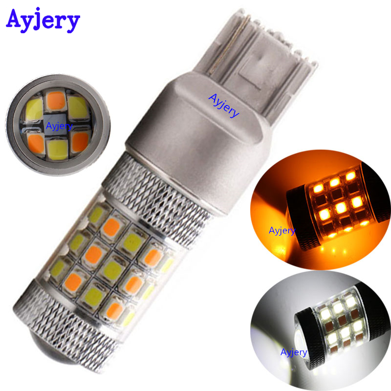 2pcs T20 P21w 7443 2835 42 Smd Led Car Bulb White/amber Dual Color Dc 12v Turn Signal Light Paring Light Ideal Gift For All Occasions Well-Educated Ayjery ! Signal Lamp
