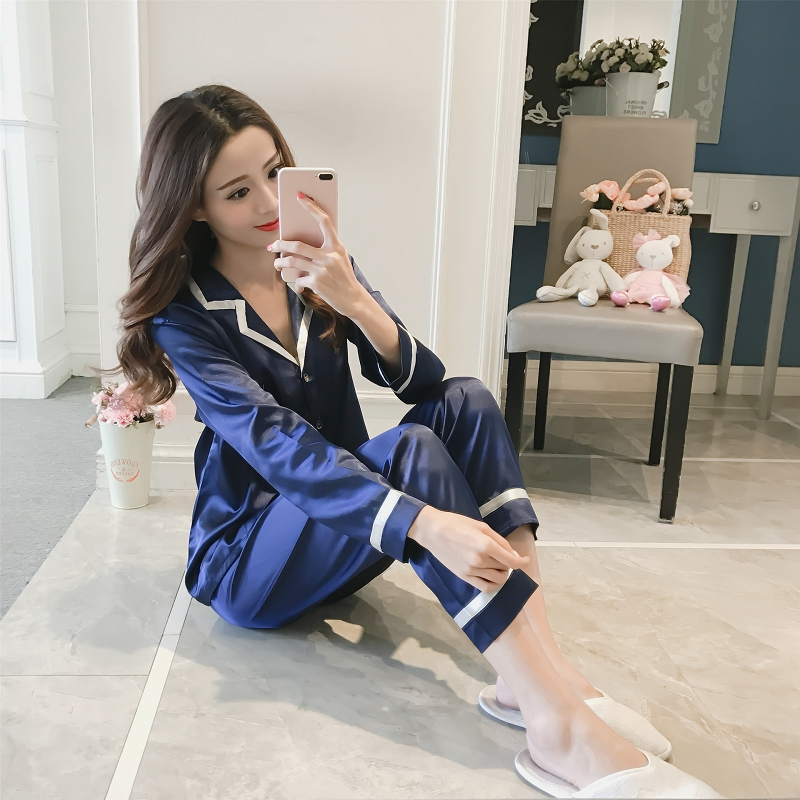 2019 Fashion Womens Solid color Pajamas Set Long Sleeve Sleepwear Suit Female Sleep Two Piece Set Loungewear(China)