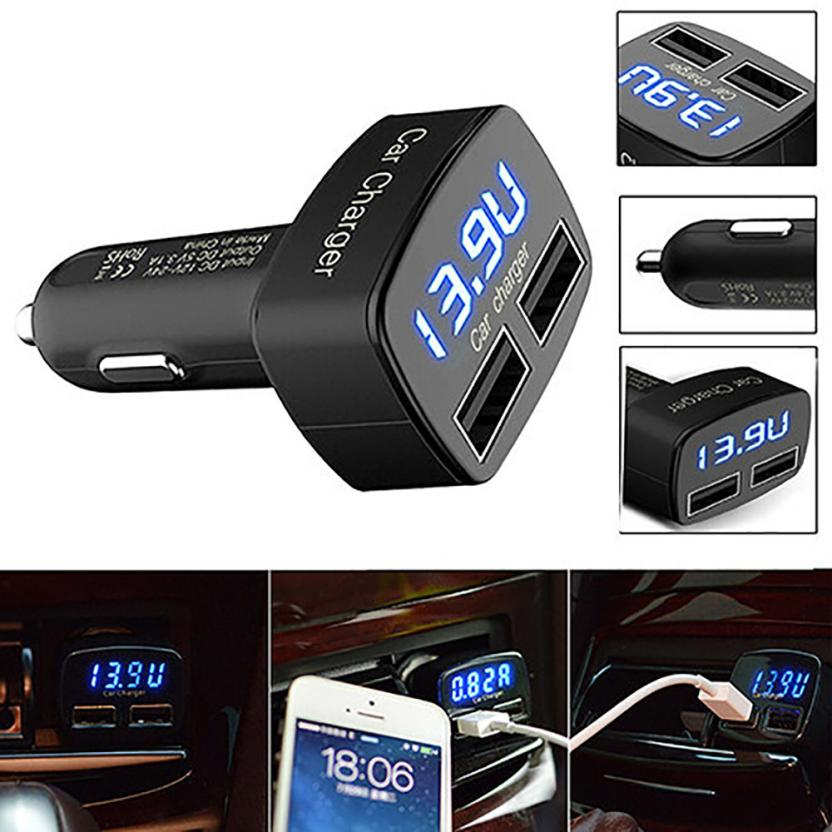 Auto car-styling Black 4 In 1 Dual USB Car Charger Adapter Voltage DC 5V 3.1A Tester For iPhone Aux Auto 3