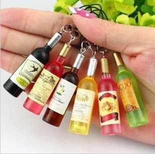 2016 Creative New Mini Rượu Vang Đỏ Chai Keyring Key Ring Keychain cho điện thoại di động, Món Quà giáng sinh