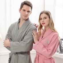 Хлопковый Халат Для мужчин кимоно халат пижамы длинные мягкие теплые XL сна Lounge пеньюар Ночные сорочки любителей невесты одеяния лето