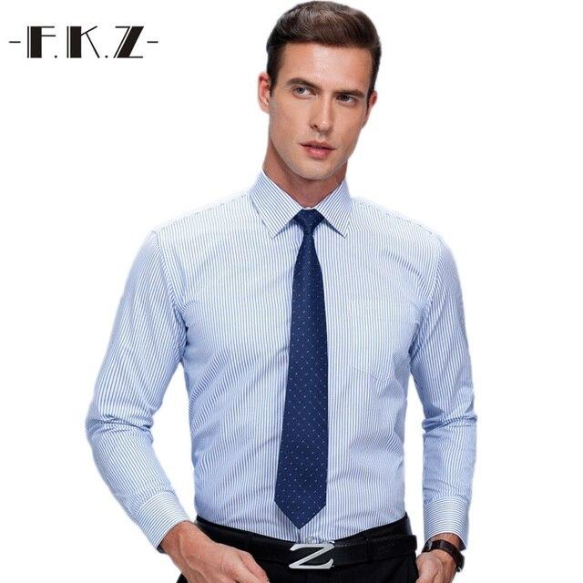 d39516c1c8f FKZ 2017 Mens Work Shirts Brand Long Sleeve Striped Twill Men Dress Shirts  White Male Shirts 4xl Amisa Masculina Camisas Hombre