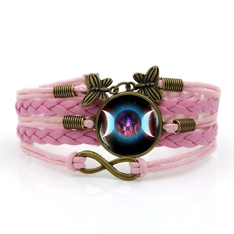 Multilayer Handmade Leathers Braided Bracelet Triple Moon Goddess Girls Braided Wristband Bracelet Female Fashion Accessories