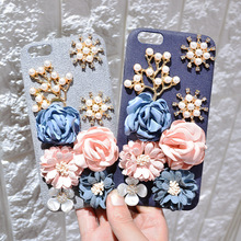 Apple6s Mobile Phone Shell Iphone6 Rhinestone Flowers Retro Three-dimensional Flower Flannel 7plus Sets