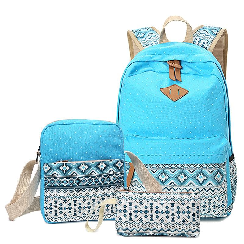 Dot Canvas Printing Backpack Women School Back Bags For Teenage Girls Cute Black Set Travel Backpacks Female Bagpack Rucksack #4