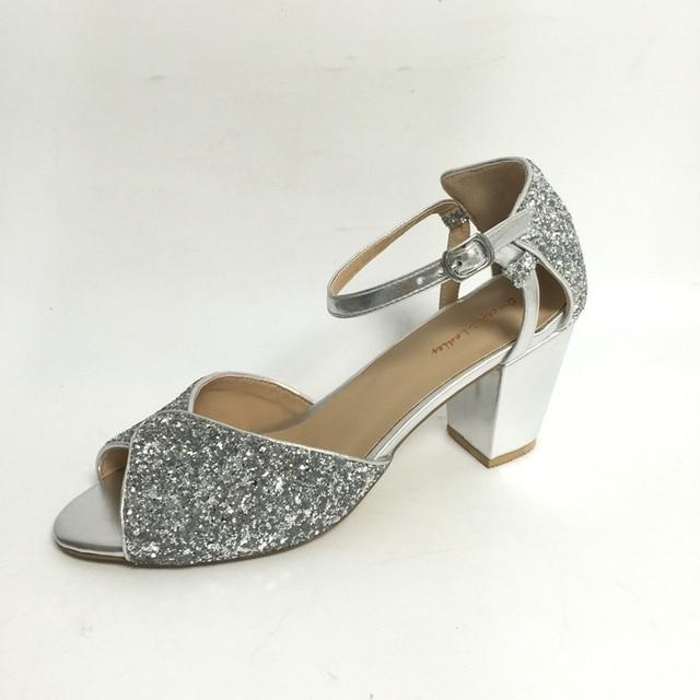 386ae4b036e Silver Glitter Sequins Chunky Heel Women Sandals Peep Toe Women Heel Sandals  Low Heels Customized Colors Block Heel Sandals