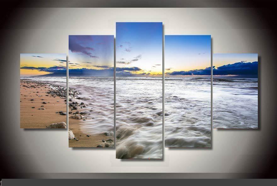 Art abstrait décor d'intérieur 20x35cmx2, 20x45cmx2, 20x55 cm Maui USA plage impression toile affiche décoration impression toile 5 pièces