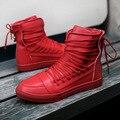 Новый Мужчины Повседневная Обувь Высокого Качества Pu Кожа Мужчины Высокий Верх обувь Мода Узелок Дышащий Хип-Хоп Обувь Мужчины Красный Черный белый