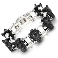 Black Domineering men 's jewelry titanium bracelet wolf head stainless steel bracelet chain bracelet