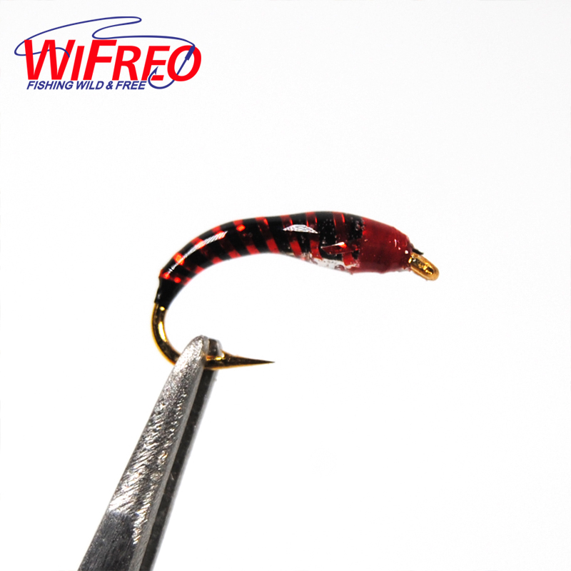 Wifreo 12pcs Epoxy Nymph Flies Midge Hegene Buzzers Trout Fishing Bait Artificial Lures Size 14 Hook wifreo 16 golden hook nymph flies bead head buzzers fly fishing lures