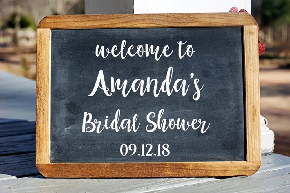 Bridal Shower Welcome Wall Decal DIY Vinyl Personalized Name Date Decals Sign for Board Mirror Removable Custom W517