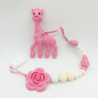 Silicone Teething Giraffe Teether Clip Baby Teether Pacifier Giraffe Clip Silicone Teething Pacifier Necklace Hanging