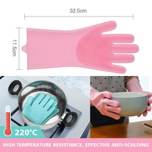 Food Grade Dishwashing Gloves Silicon Dishes cleaning Gloves with Cleaning Brush Kitchen Wash Housekeeping scrubbing gloves