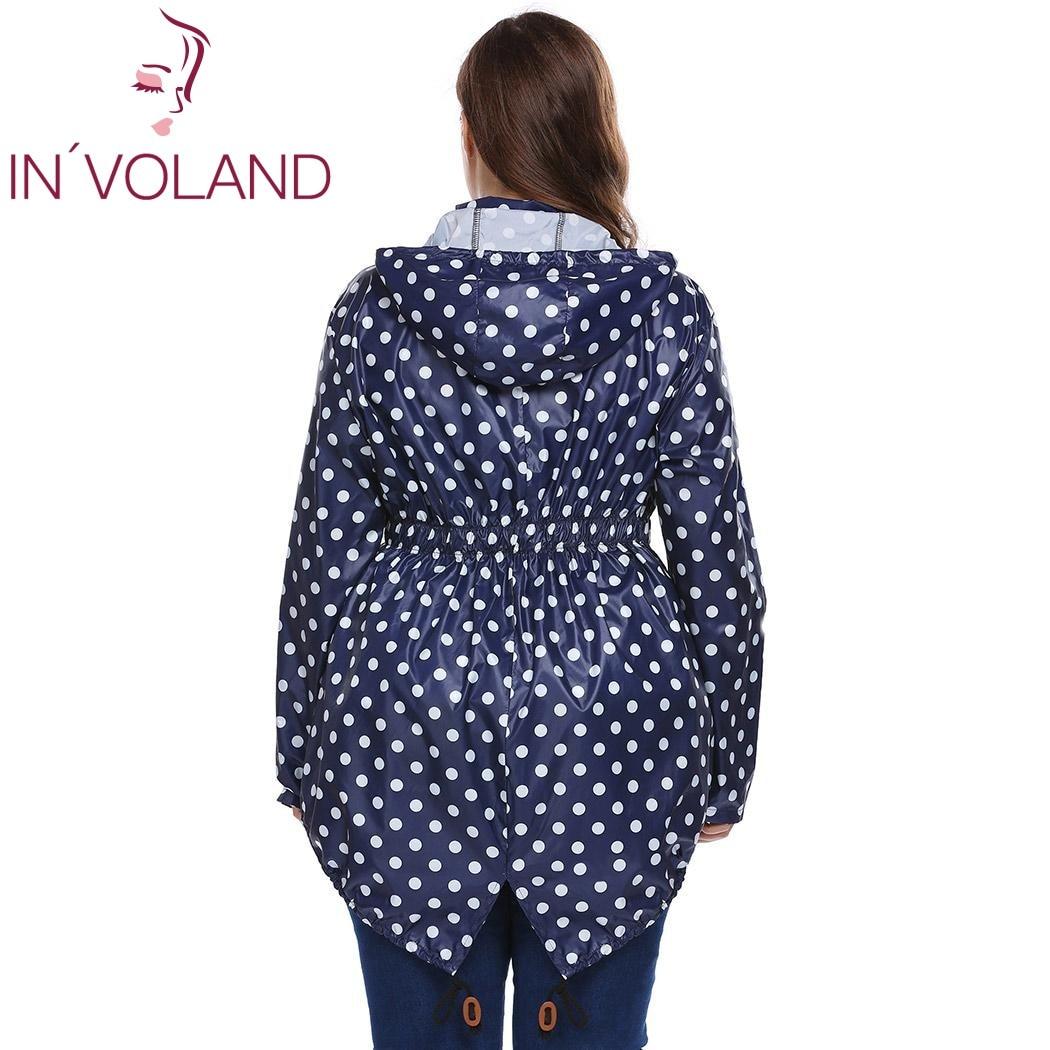 IN'VOLAND Women Hooded Hoodie Jacket Plus Size XL-5XL Spring Autumn Long Sleeve Dot Drawstring Sweatshirt Raincoat Coat Big Size 3
