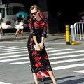 Новый 2016 Взлетно-Посадочной Полосы Марка Дизайнер Платья Высокого Качества женщин С Длинным Рукавом Sexy Bodycon Оболочка Черное Кружево Вышивка Длинное Платье