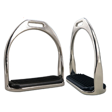 1 Pair Horse Riding Metal Safety Stirrups Rubber Treads Equestrian Horsing Accessories Horse Racing Silver Outdoor Riding Tool
