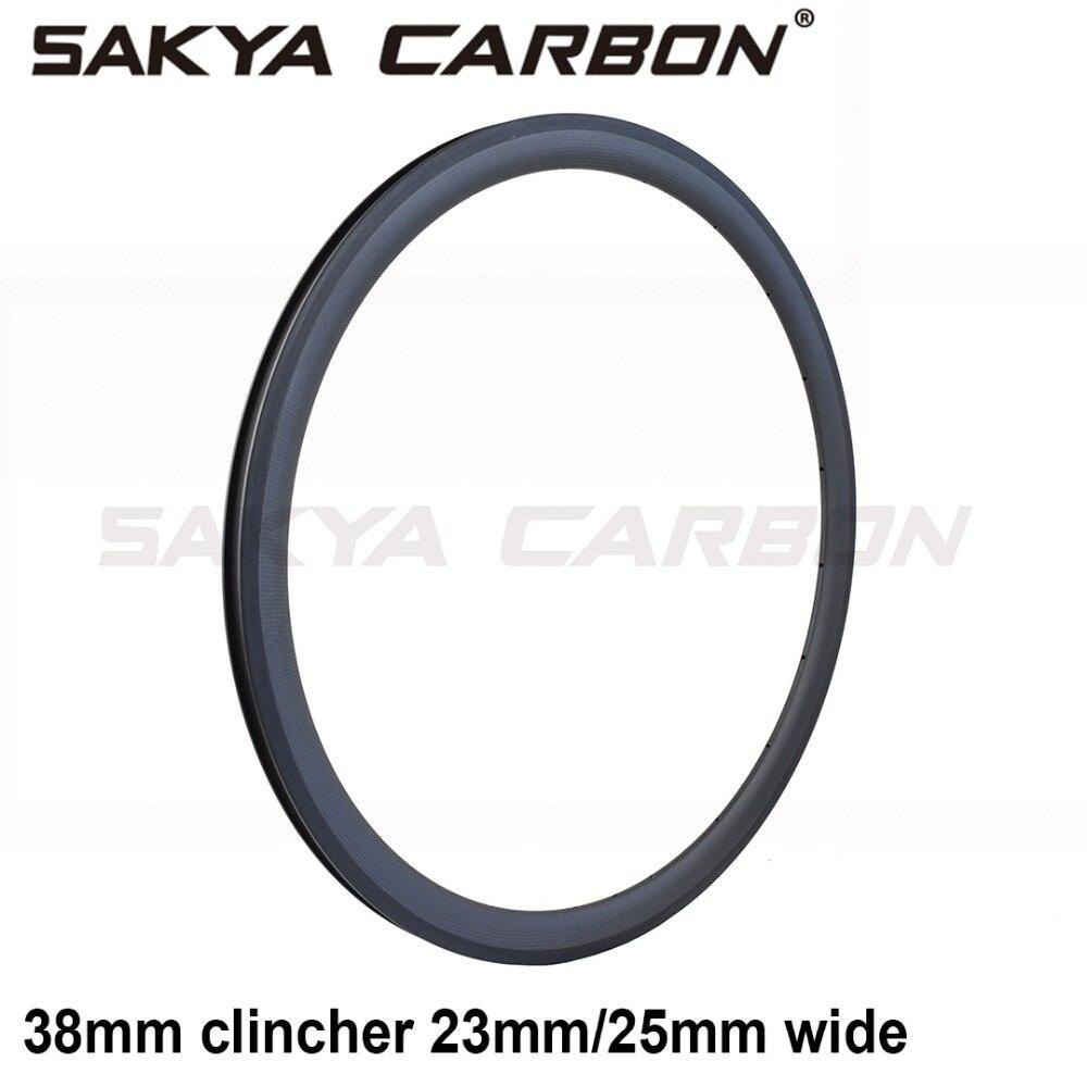 700C Carbon 38mm depth clincher Rim for Road Bike 23mm width V shape 25mm U shape