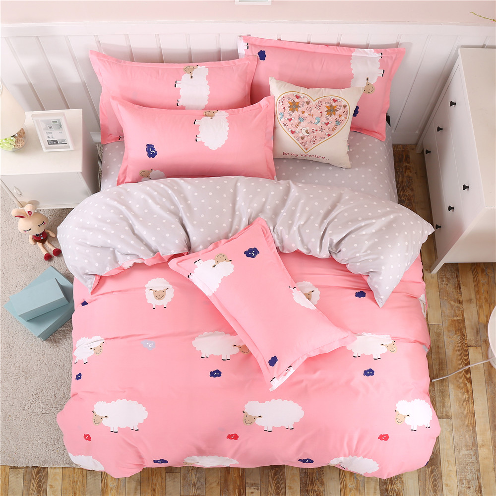 Direct selling promotion pink lamb cartoon Duvet Cover animal sheets Bedding Set King queen full twin size Cute Girls bedclothes