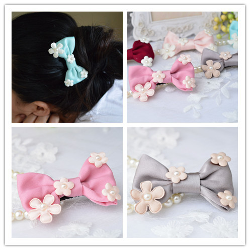 Hair Accessories Korean Women Chiffon flower Bow Hair Clips Barrette Girls Ponytail hair Holder P438 m mism new arrival korean style girls hair elastics big bow dot flora ponytail rubber hair rope hair accessories scrunchy women
