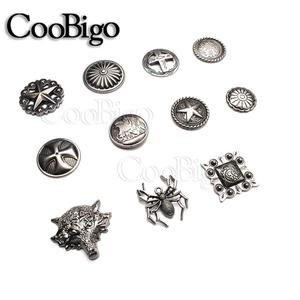 10sets Pewter Studs Rivet Spikes For Punk Rock Garment Shoes Bag Cap Pets Collar DIY Leather Craft Accessory Star Spider Wolf(China)