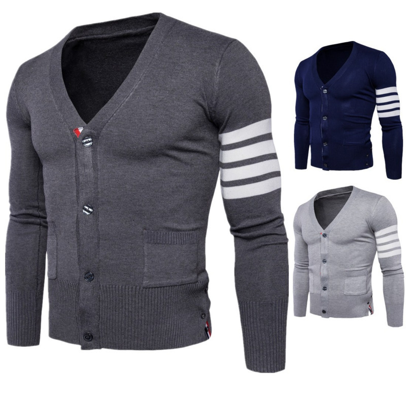 Spring Autumn New Knitting Mens Sweaters Casual Fashion Cardigan V Neck Knitwear Long Sleeve Sweater Male Tops 3colour