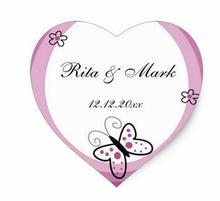 1.5inch Butterfly Heart Wedding Favor Sticker Purple Heart Sticker1
