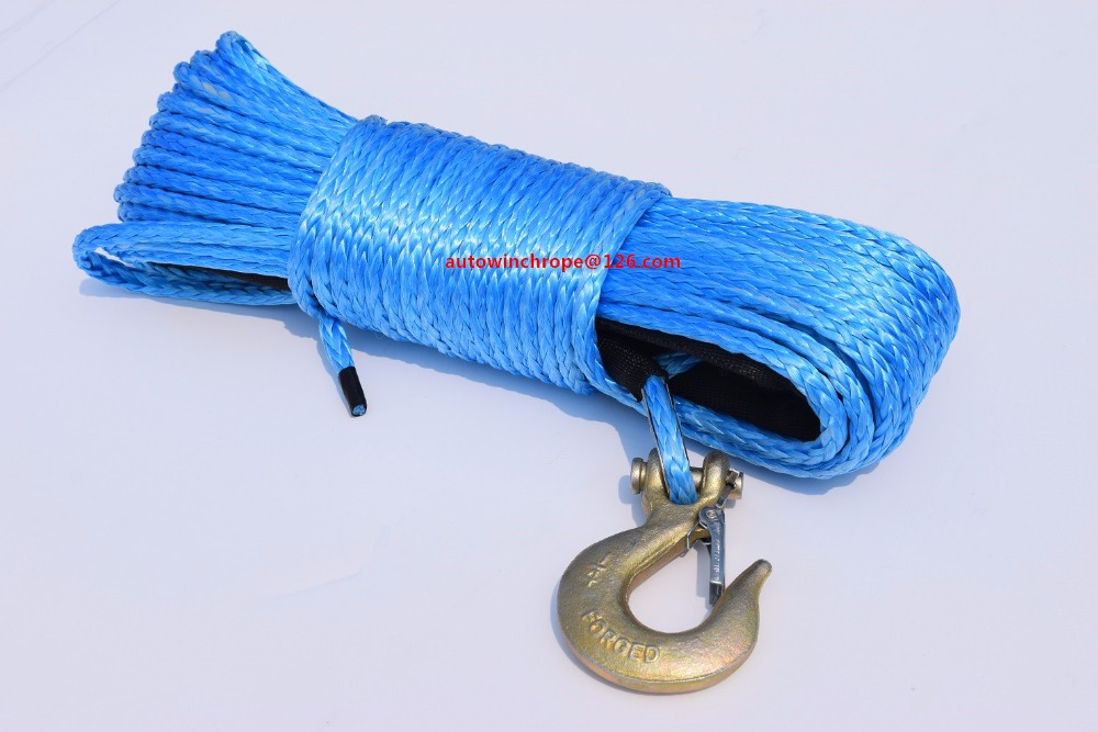 Blue 1/4*50ft Winch Rope Hook,Durable UHMWPE Rope For ATV UTV,Synthetic Winch Cable,Off Road Rope