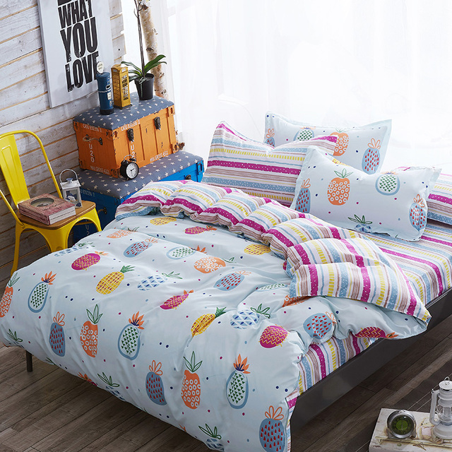 fashion pineapple printed bedding sets bedclothes cotton duvet cover