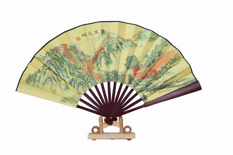 """1"""" украшенный Шелковый складной Ручной Веер человек большой бамбуковый китайский Печатный веер из ткани традиционное ремесло свадебные сувениры веер - Цвет: Great Wall"""