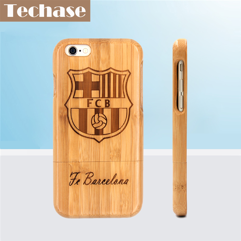 Techase Bamboo Phone Cases For Bacelona Football Club For <font><b>iPhone</b></font> 6 Case Full Wooden Design Protective Back Covers For <font><b>iPhone</b></font> 5