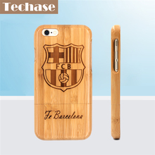 Best Price Techase Bamboo Phone Cases For Bacelona Football Club For iPhone 6 Case Full Wooden Design Protective Back Covers For iPhone 5