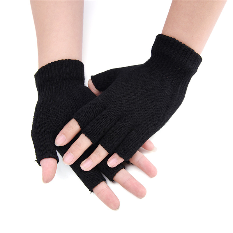 Half Finger Fingerless Gloves For Women And Men Wool Knit Wrist Gloves Winter Warm Workout Gloves Black