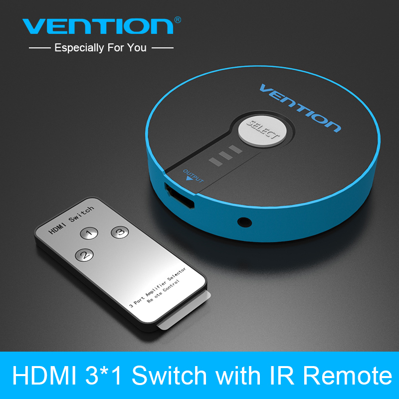 Vention 3 Port HDMI Switch Switcher HDMI Splitter 3x1 for PS3 PS4 Xbox 360 PC DV DVD HDTV 1080P HDMI 3 Input to 1 Output Adapter  3 port 1080p video hdmi switch switcher splitter for hdtv ps3 dvd ir remote un2f 100% new high quality