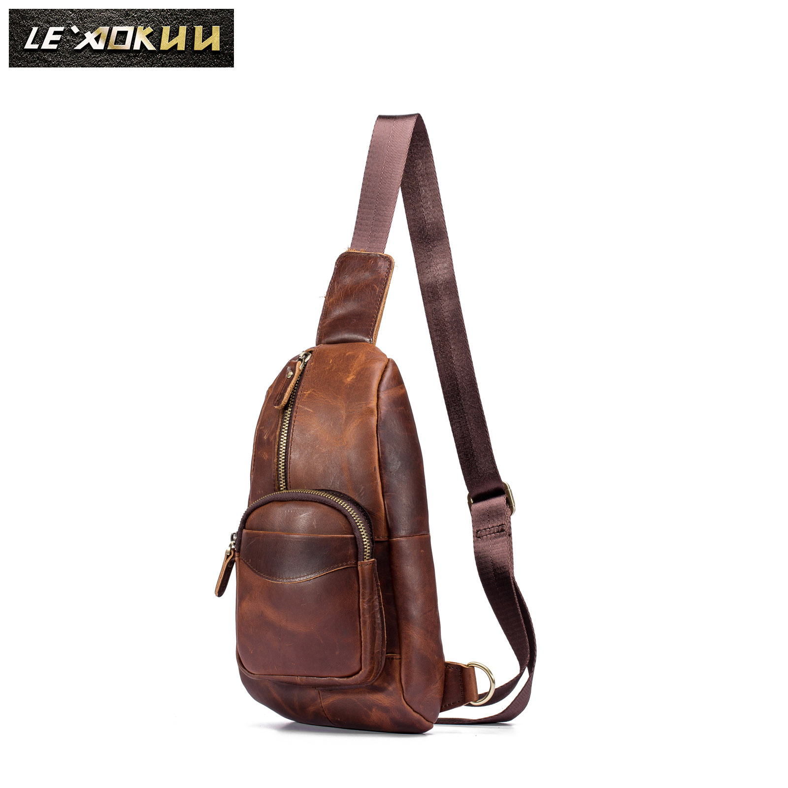Men Quality Leather Casual Fashion Travel Waist Pack Chest Sling Bag One Shoulder Crossbody Bag Daypack For Male 8012-db