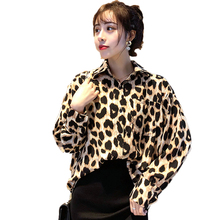 Fashion Women Leopard Print Shirts Boyfriend Style Oversized Shirt Woman Casual Loose Fitting Top Turn Down Collar Blouse Ladies